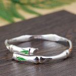 FNJ 925 <b>Silver</b> Bamboo Bangle Width 7mm 100% S990 <b>Sterling</b> <b>Silver</b> 58MM Adjustable size Bangles for Women <b>Jewelry</b> DiYou Green