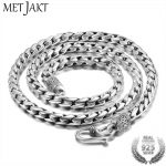 MetJakt 925 <b>Sterling</b> <b>Silver</b> 5mm Width Vintage Long Chain Necklaces for Men Steampunk Retro Rock Fashion Men <b>Sterling</b> <b>Jewelry</b>