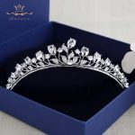 Fashion Silver Leaves Tiaras Crown for Brides Crystal Hairbands Headpieces Zircon <b>Wedding</b> Hair Accessories Prom Hair <b>Jewelry</b>