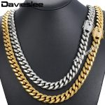 Davieslee Miami Curb Mens <b>Necklace</b> Chain Iced Out Cubic Zirconia CZ 316L Stainless Steel Gold <b>Silver</b> Color 12/14mm 30inch DHNM21