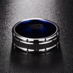 Blue Inner Ring Party Ring Scrub Groove Men Rings Tungsten Carbide Anillos para hombres Male Fashion <b>Jewelry</b>