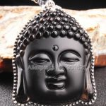925 Silver Natural Ice Obsidian <b>Handmade</b> Carved Chinese Buddha Head Lucky Amulet Pendant + Beads Necklace Fashion Charm <b>Jewelry</b>
