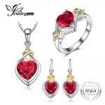 JewelryPalace Love Knot Heart 8.4ct Created Ruby Anniversary Promise Ring Drop Dangle Earrings Pendant Necklace 925 <b>Sterling</b>