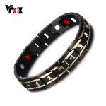 Vnox Health Men Bracelet Bangle 316L Stainless Steel Magnetic Care <b>Jewelry</b> Black Engraved Chinese Buddhism
