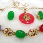 Women's Wedding charming green/red gem -black stone mixed bracelet/earring/ring set 5.23 silver-<b>jewelry</b> brinco real silver