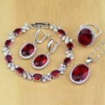 Oval Red CZ White Zircon 925 Sterling <b>Silver</b> Jewelry Sets For Women Wedding Earrings/Pendant/Necklace/Rings/<b>Bracelet</b>