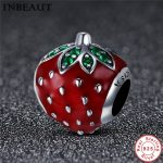 INBEAUT Real 925 Sterling Silver Red Strawberry Shaped Enamel Beads Women Cute Fruit Charm fit Pandora Bracelet Fine <b>Jewelry</b>