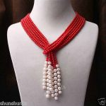 Hot sale Free Shipping>>>>>Natural red coral /white freshwater pearl <b>necklace</b> 3 strand 50inch