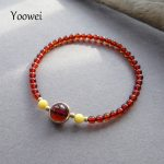 Yoowei 3.4mm Women Amber Jewelry Wholesale Good Luck Chicken Oil Yellow Beeswax S925 <b>Silver</b> Cherry Beads Natural Amber <b>Bracelet</b>