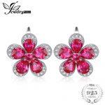 JewelryPalace Flower 5.5ct Red Creaed Rubies Clip On <b>Earrings</b> Genuine 925 Sterling <b>Silver</b> Fine Jewelry Gift For Women <b>Earrings</b>