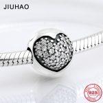 New 925 Sterling Silver sparkling round heart clips Lock CZ beads Fit Original Pandora Charm Bracelet <b>Jewelry</b> <b>making</b>