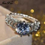 JUNXIN Luxury Male Female White AAA Zircon Stone Ring Fashion Gold Filled <b>Jewelry</b> Vintage <b>Wedding</b> Rings For Men And Women