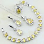 Trendy Yellow Cubic Zirconia White CZ 925 Silver <b>Jewelry</b> Sets For Women Wedding Earring/Pendant/<b>Necklace</b>/Bracelet/Ring