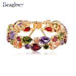 Beagloer Brand Bracelets & Bangles Colorful AAA Zircon Bracelet Gold/Rose Gold Color Women Bracelet <b>Fashion</b> <b>Jewelry</b> CBR0004