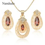 Nandudu Rose Gold Color Wire Mesh Net Austrian Crystal Pendant <b>Necklace</b> Earrings <b>Jewelry</b> Sets for Women Girl Wedding Gift CN296