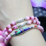 6mm Peach Blossom Chalcedony Crystal Beads Bracelet For Women Gift Female Bracelet Fish Natural Stone DIY <b>Jewelry</b> <b>Making</b> Design