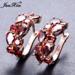 JUNXIN Luxury Female Big Hoop Earrings Rose Gold Filled Red White Zircon Earrings <b>Fashion</b> <b>Jewelry</b> Wedding Earrings For Women