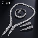 ZAKOL Luxury Big Gold Color Dazzling Cubic Zircon Bridal Wedding <b>Jewelry</b> Set 4Pcs For Indian Women FSSP366