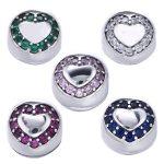 Authentic 925 Sterling Silver Stopper Pave Heart Purple CZ Clip Beads Fit Original Pandora Charms Bracelets DIY <b>Jewelry</b> <b>Making</b>