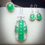 Yu Xin Yuan Fine 925 Mosaic Natural green Bamboo SectionChalcedony Pendant Ring <b>Earrings</b> Jewelry Suit