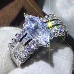 Size 5-10 <b>Handmade</b> Fashion <b>Jewelry</b> 925 Sterling Silver Filled Marquise Clear 5A CZ Zirconia Women Wedding Band Ring Gift Vecalon