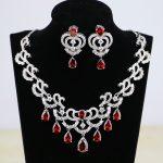 Water Drop Red CZ White Zircon Women Silver Color Bridal <b>Jewelry</b> <b>Wedding</b> Earrings Pendant Necklace Sets