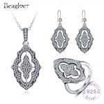 Beagloer 100% 925 Sterling <b>Silver</b> Sparkling Lace Shining Long Pendant With Sparkling CZ Fine Jewelry Sets For Women PSST0004-B