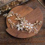 Jonnafe Hand wired Gold Blossom Hair Comb For Bride Rhinestone <b>Wedding</b> Headpiece Hair Accessories Women <b>Jewelry</b>