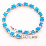 Free Shipping Blue Fire Opal 925 Sterling <b>Silver</b> <b>Bracelet</b> 7.5″+0.5″ P88