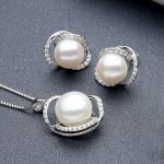 Sinya Natural pearl fine jewelry set include <b>Earring</b> Necklace in 925 Sterling <b>silver</b> pearl diameter 10-13mm 2017 new arrival