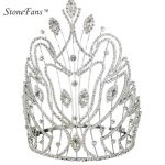 StoneFans Quality Luxury Crystal Bride Crown Silver Crown <b>Wedding</b> Hair <b>Jewelry</b> Ornaments Annual Meeting Props Festival Jewellery