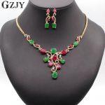 GZJY Luxury Gold Color Flower Red&Green AAA Cubic Zircon <b>Jewelry</b> Sets For Women Wedding Party <b>Jewelry</b>