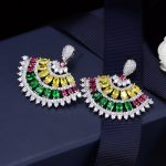 Kinel Luxury Colorful Cubic Zirconia Drop Earrings For Women <b>Wedding</b> <b>Jewelry</b> Fashion Sector Earrings Party Gift