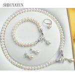 SHDIYAYUN 2018 Fine Jewelry Set Natural Freshwater Pearl 925 Sterling <b>Silver</b> Necklace Bracelet Trendy Jewelry Set For Women Gift