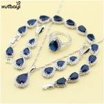 XUTAAYI Top Quality 925 Silver <b>Jewelry</b> Sets Blue Created Sapphired Flawless Necklace/Rings/Earrings/Bracelet For women
