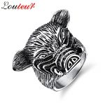 LOULEUR Punk Vintage <b>Antique</b> Sliver Color Animal Pig Ring for Men Stainless Steel Hip Hop <b>Jewelry</b> Male Ring Titanium Stee Ring