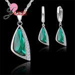 YAAMELI New Charming 925 Sterling <b>Silver</b> Austrain Crystal Pendant <b>Necklace</b> Hoop Earring Set Geometric Crystal Jewelry Sets