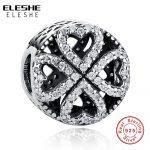 ELESHE Original Charms Fit ELESHE Bracelet Pendant 925 Sterling Silver Clear CZ Four Leaf Clover Heart Beads DIY <b>Jewelry</b> <b>Making</b>