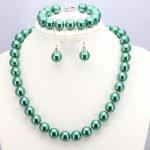 Two color options Dark green / Light green glass pearl necklace set 12mm necklace 18″bracelet 7.5″ earring women <b>jewelry</b> <b>making</b>