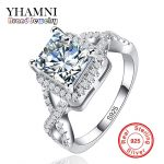 YHAMNI Big Sale Original Sterling Silver <b>Jewelry</b> Rings for Women Inlay Zircon 7mm CZ Diamant Wedding Engagement Rings AR065