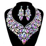 Bridal wedding <b>Jewelry</b> sets shining AB rhinestone crystal women <b>necklace</b> and earrings set fashion big statement dress <b>jewelry</b>