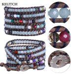 KELITCH Bracelets <b>Jewelry</b> Crystal Beads Bracelet Mixed Charm Bracelet 5 Wrap Leather <b>Handmade</b> Bracelets with custom logo beads