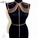 Chran 2017 Collar Statement Necklace Women Sexy Chain <b>Wedding</b> Shoulder Necklace Chain Bralette Belly Waist Beach <b>Jewelry</b> CRBJ914