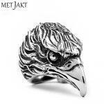 MetJakt Punk Rock Domineering Eagle Head Ring 925 <b>Sterling</b> <b>Silver</b> Ring for Men Personality Unique Vintage Thai <b>Silver</b> <b>Jewelry</b>