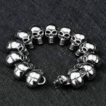Men Skull <b>Bracelets</b> Stainless Steel Skulls Head Chain Bangle <b>Bracelet</b> Gothic Punk Biker Jewelry <b>Silver</b> Pulseira Calavera