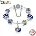 BAMOER 925 Sterling Silver Star & Moon Legend Glittering Glass Beads Pumpkin Car Charm Bracelet Sterling Silver <b>Jewelry</b> PSB009