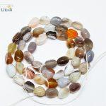 Natural Stone Grey Botswana Agates Pebble Nugget beads DIY <b>Jewelry</b> <b>Making</b> Approx 6x8mm 39cm