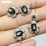 ZHHIRY Natural Star Sapphire Sets Woman Gemstone <b>Jewelry</b> Set Solid 925 <b>sterling</b> <b>Silver</b> Noble Precious