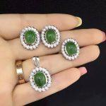 Natural green jasper gem jewelry sets natural gemstone ring Pendant <b>Earrings</b> 925 <b>silver</b> personality Elegant Luxury Flowers twist