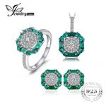 JewelryPalace Nano Russian Simulated Emerald Birthstone Pendant Necklace Ring Stud <b>Earrings</b> Jewelry Sets 925 Sterling <b>Silver</b>
